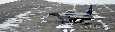 The Canadair T-33A-N Silver Star 3 (CL-30) aircraft - C-FSKH. This was a grab shot from the parking garage at the Ottawa International Airport from distance with my Powershot A570 IS.