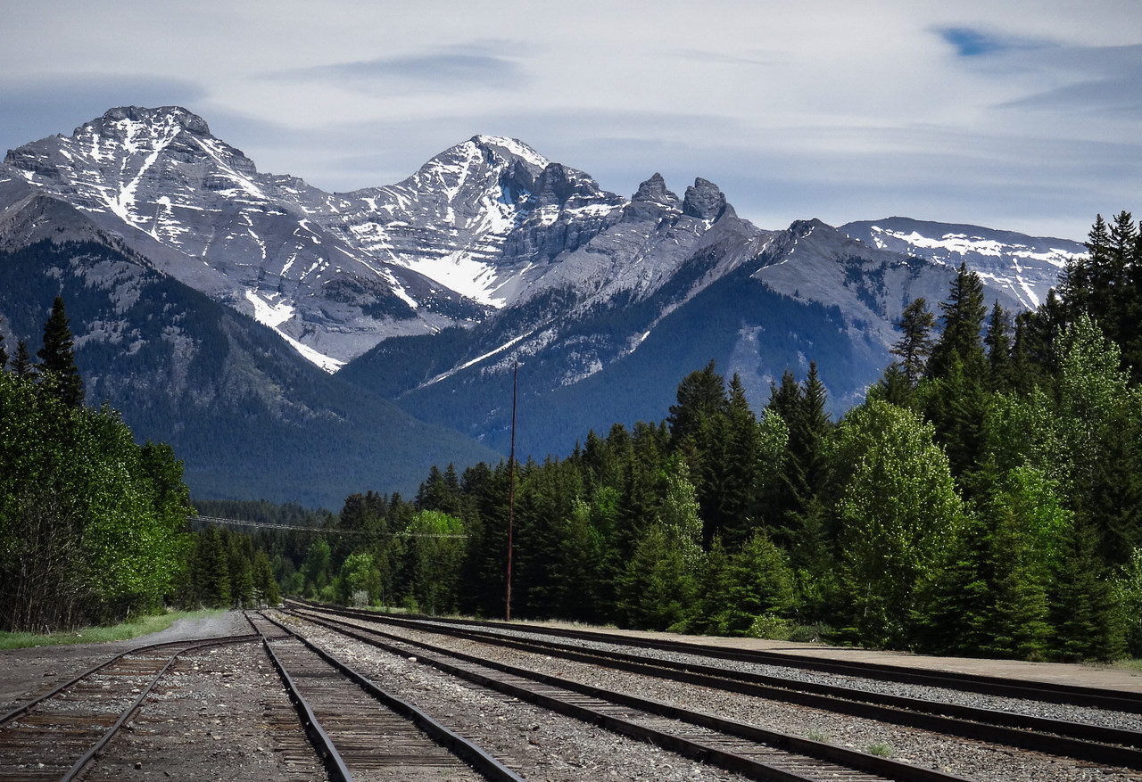 Rail Line Near Banff , Alberta