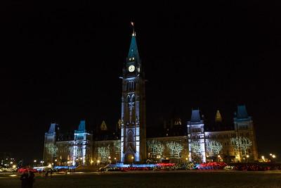Parliament Hill Christmas Lights, Ottawa Ontario (2014)