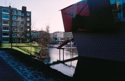 Groningen, Groninger Museum. Gracht and Exterior
