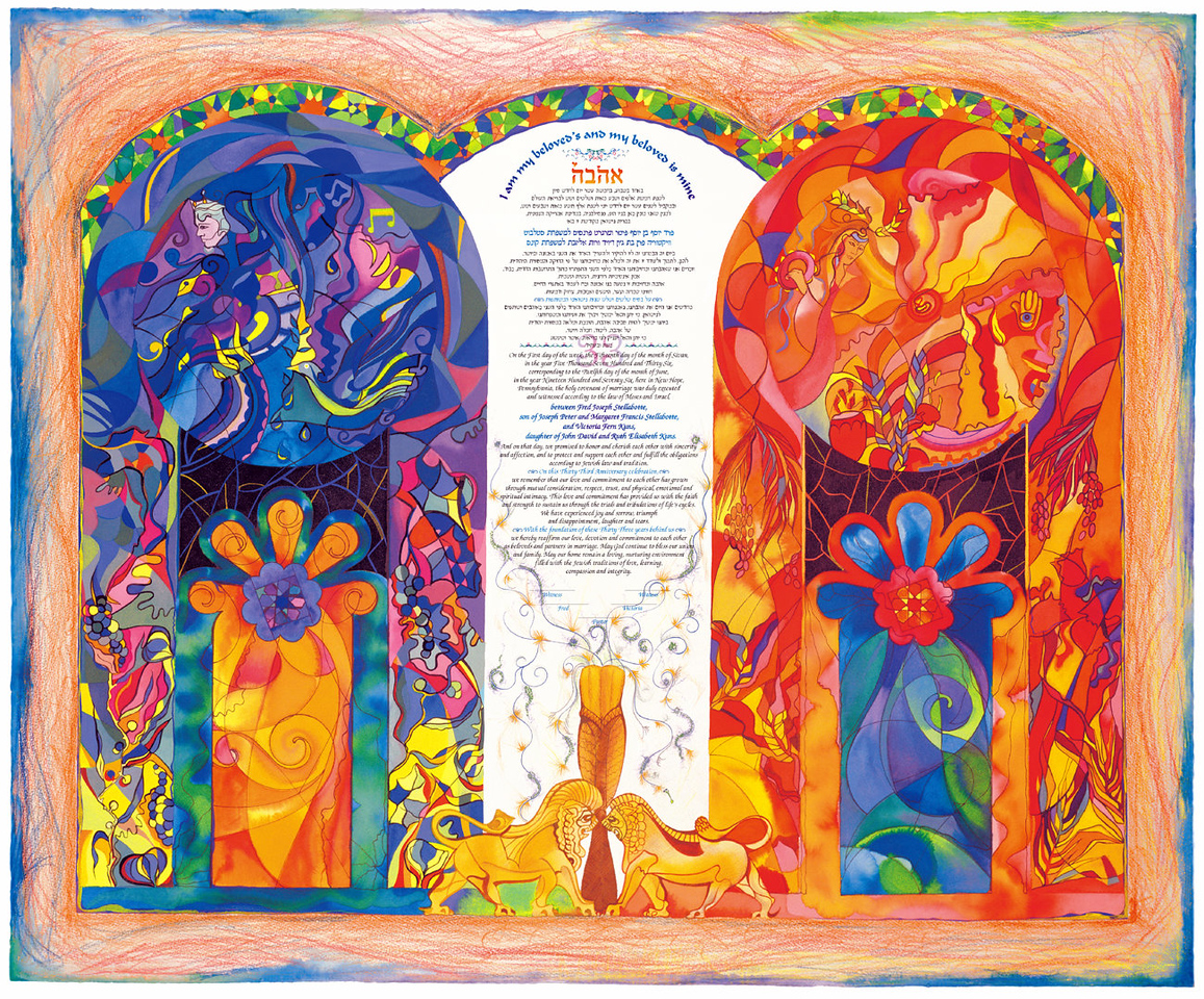 For our 33rd anniversary I got Tory my wife a Ketubah. Originally a Jewish custom where the groom promises to allways take of his wife by signing this contract. It has now adopted my many Judiao-Christian Faiths, and is used for anniversaries to reaffirm our Marriage commitments.