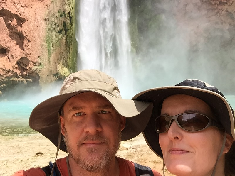 Us in our dorky hats at Havasu Falls.