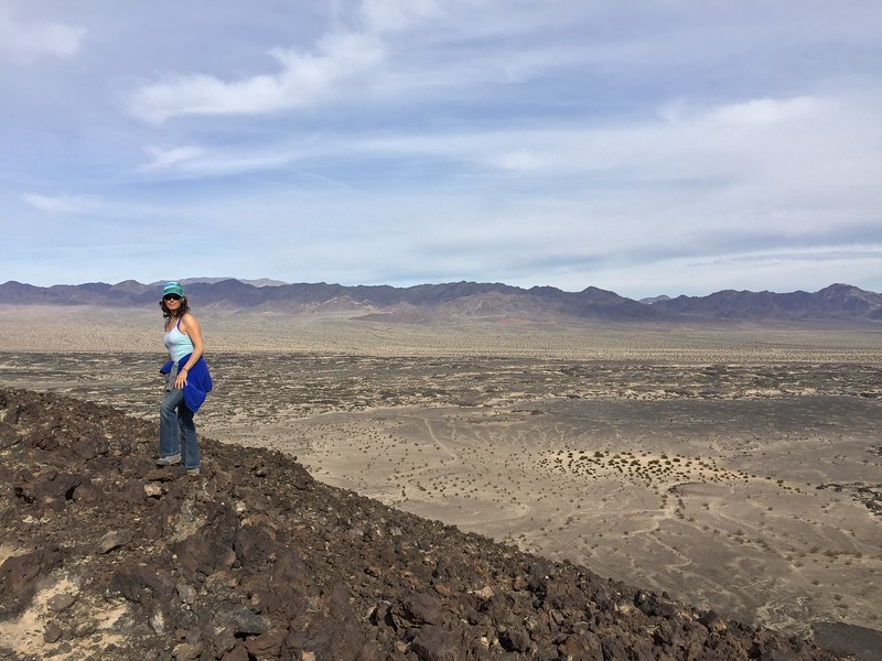 Tracy hiking on the top of the Amboy crater.