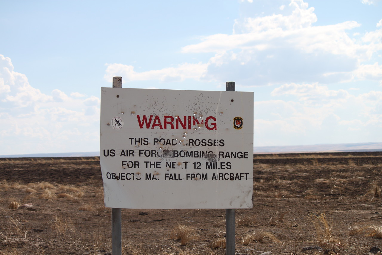 A sign near Bruneau Canyon in Idaho.  And yes, there were military planes flying overhead as we drove through.