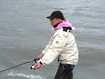 Carol fishing in Alaska - July 2008