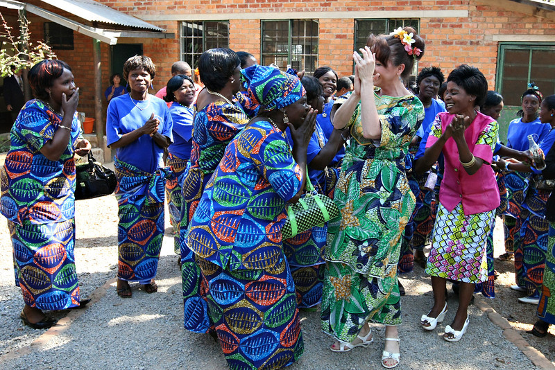 Dancing and singing at the Women's Center before lunch.