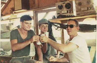 "1st Marines enjoying a ""brewski"" in a Seabee built hootch-DaNang 1967"