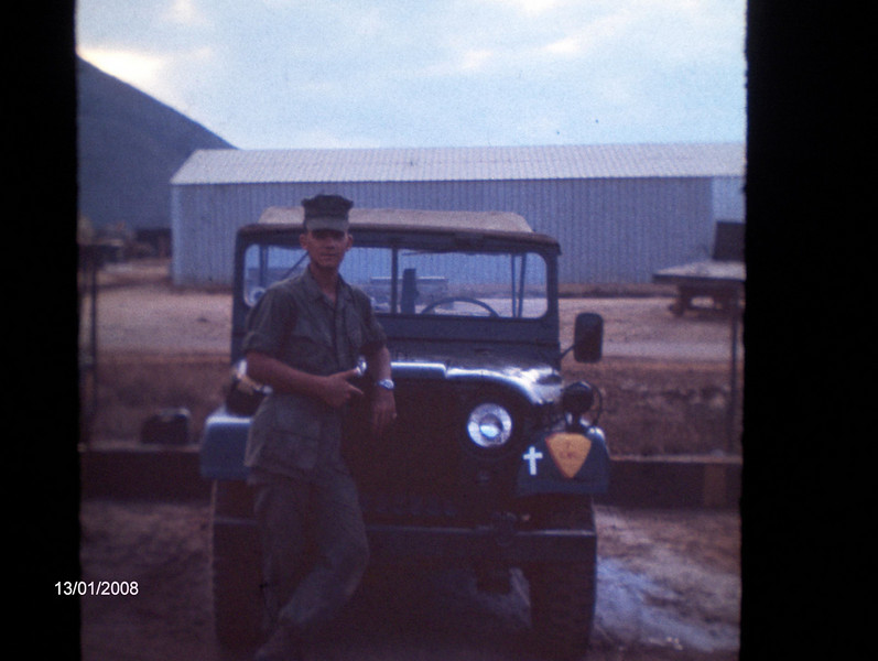 In 1968, Navy Chaplain (Assigned To The Marines) Haryasz was assigned a driver, however, he had no jeep and no prospect of getting one....he laid his hands on a case of rum and headed for the Seabee base at Red Beach....the Seabees had a broken down jeep they were scraping out which they gladly traded for the rum...this is a photo of the jeep which, after being put together by his Marine buds carried the Chaplain all over I Corps as he made his rounds<br /> Photo courtesy of Tom Madigan USMC