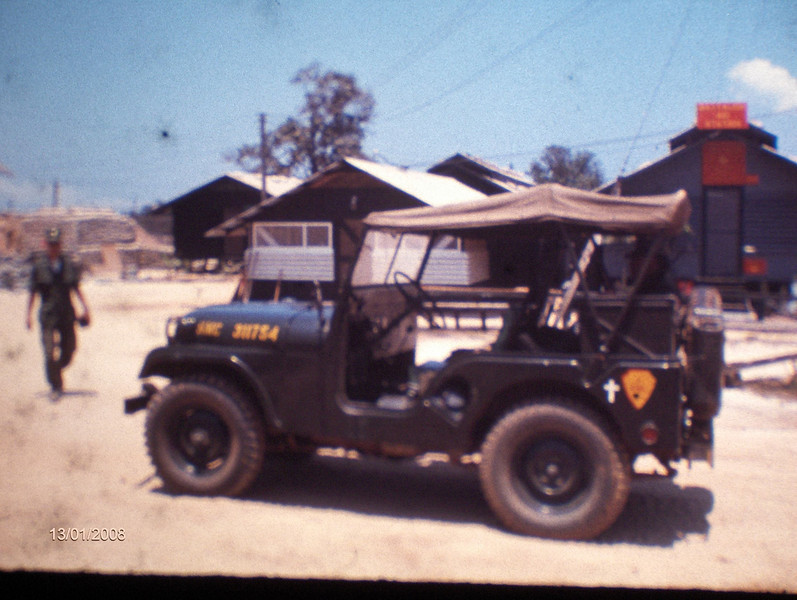 In 1968, Navy Chaplain (Assigned To The Marines) Haryasz was assigned a driver, however, he had no jeep and no prospect of getting one....he laid his hands on a case of rum and headed for the Seabee base at Red Beach....the Seabees had a broken down jeep they were scraping out which they gladly traded for the rum...this is a photo of the jeep which, after being put together by his Marine buds carried the Chaplain all over I Corps as he made his rounds.<br /> Photo courtesy of Tom Madigan USMC