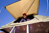 Pat setting up our Camp in the Camping Lab Roof Top Tent - Photo by Cindy Bonish