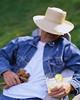 Man Relaxing with Lemonade ca. 2000