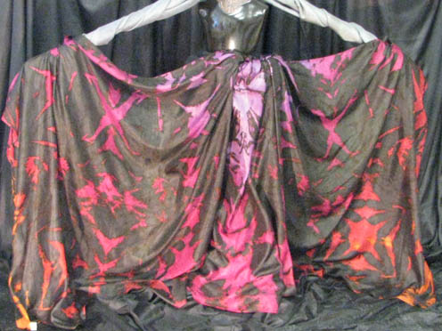 """5H-45108-BLKTD-TROP  45""""x108"""" 5mm Habotai Standard Silk Veil: Black Tie-Dye Tropical Sunset  Check out our <a href=""""http://mivasecure.abac.com/fairycove/merchant.mvc?Screen=PROD&Store_Code=FCS&Product_Code=5H-45108-BLKTD-TROP&Category_Code="""">website</a> for pricing!"""
