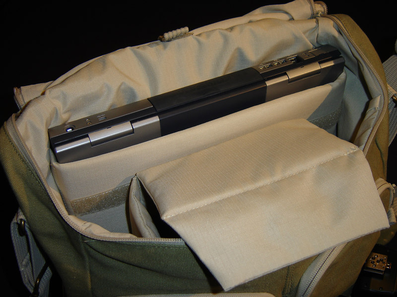 I've read several reviews saying you could never fit a laptop in the pocket provided but as you can see here I can my old Compaq 15 inch laptop fits fine.  It would be too small for an widescreen laptop.