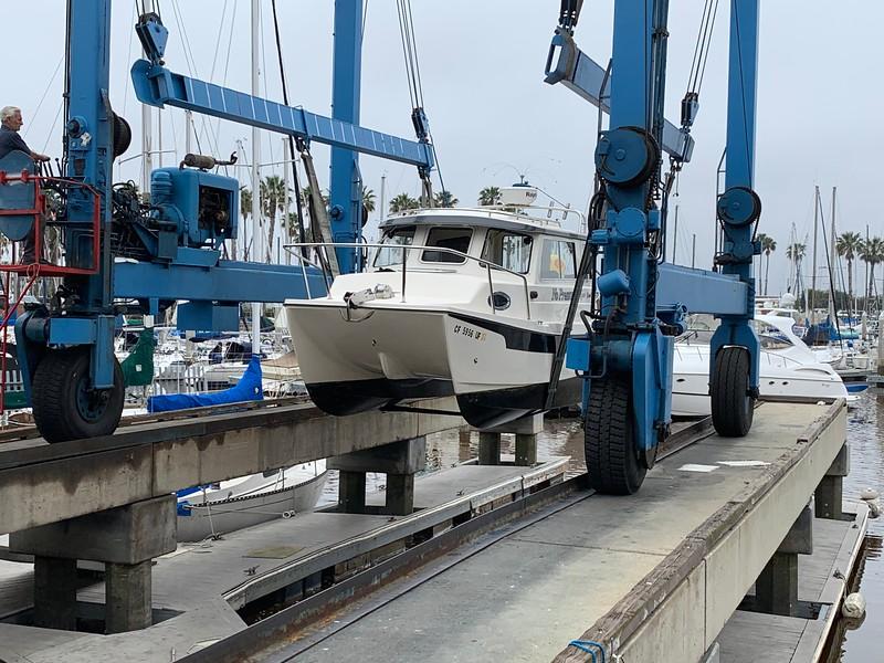 2020-04-29<br /> King Harbor Marine Center<br /> Boat-yard for drive shaft repair on port motor.
