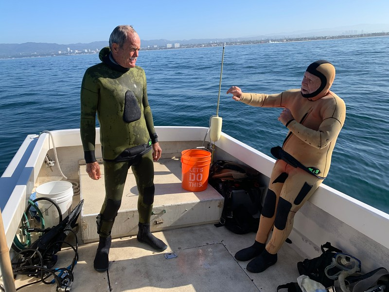 2020-07-03<br /> Captain Andy Saxon and Jack Baldelli gear up<br /> A day on the rock piles in Santa Monica Bay