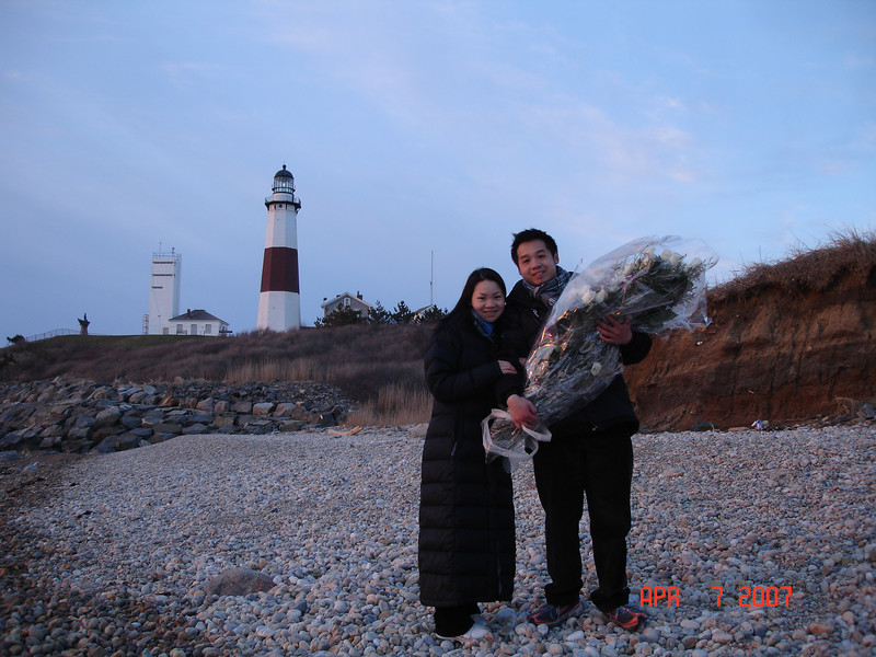 We got engaged !! the first picture taken afterward with the Montauk Lighthouse in the background.