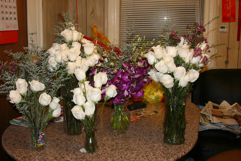 It took me 2 1/2 hours to put them in 5 vases....