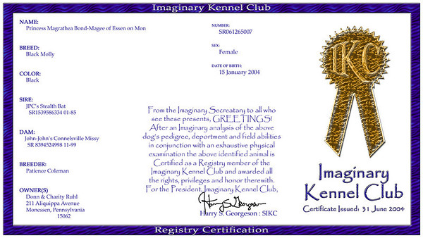 Maggie's IMAGINARY Kennel Club registration certificate. The world's ONLY registered Black Molly...