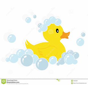rubber-duck-illustration-yellow-soap-bubbles-isolated-white-background-34525397