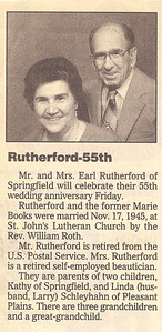 Earl and Marie Rutherford's 55th Wedding Anniversary Announcement