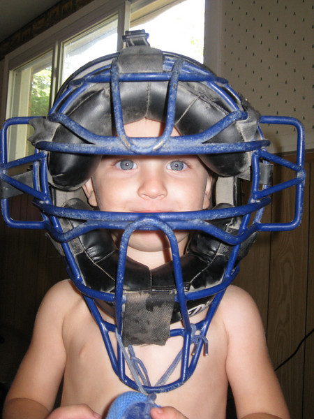Blue catcher's mask to match his baby blue eyes!