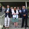 Former state Sen. Bob Antonioni and now the President of the Board for Our Father House addresses the crowd at Our Father's House Sober House for men in Leominster on Tuesday afternoon during the ribbon cutting ceremony. With him on the stairs is Judith Nest-Pasierb the Executive Director of OFH and Leominster Mayor Dean Mazzarella. SENTINEL & ENTERPRISE/JOHN LOVE