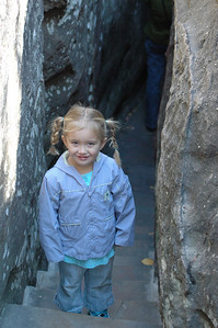 """Sydney leads the way through """"Fat Man Squeeze"""" at Rock City, Chattanooga"""