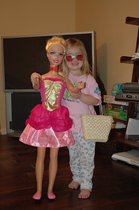 Sydney hangin' with her BFF Barbie.