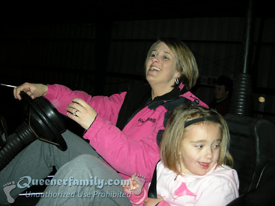 April and Sydney on the bumper cars.