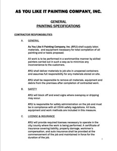 General Painting Specifications (page 1)