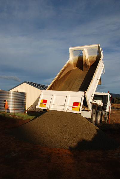 The first delivery of FCR. There will be 200mm of Fine Crushed Rock under the slab.