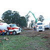 Slab day! Concrete pump and 3 cement trucks arrive at 7:30AM. Another 2? trucks en route.