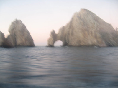 """a crappy picture of """"El Arco"""" - through the plastic screen.  there will be better ones later."""