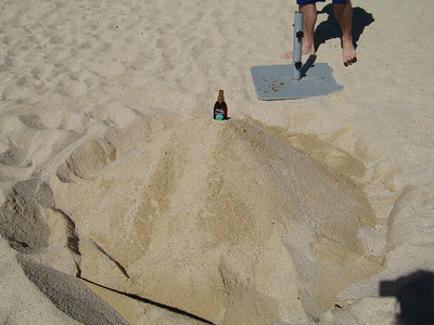 Pete finished the sandcastle pretty quickly...