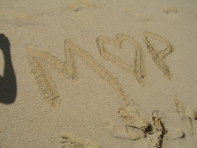 Last cheesy writing in the sand