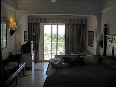 Our room! - Yup, that's Kate passed out on the bed.