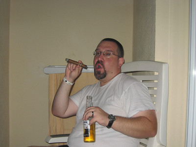 Sam with a cigar and a beer!!