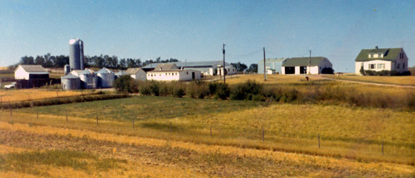 1970: View of farmstead looking northwest.   This was during the green vinyl siding era. The south-facing addition was built something prior to 1964.
