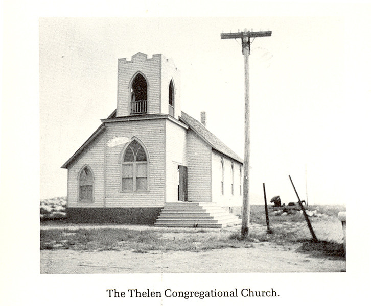 "The Thelen Congregational Church <br /> <br /> ""In 1919 the Rocky Butte Church was moved from three miles south to Thelen. It was a Community Church and all who lived near attended. The basement was used for meetings of all varieties. Church services and Sunday School were held regulalry. As people moved away and the town of Thelen closed down, the church suffered, too. The church was finally sold and moved to Trotters.""<br /> <br /> The church is still standing as of 10/20/11, although with a few changes to the entry. Trotters is located on ND Highway 16, north of Beach."