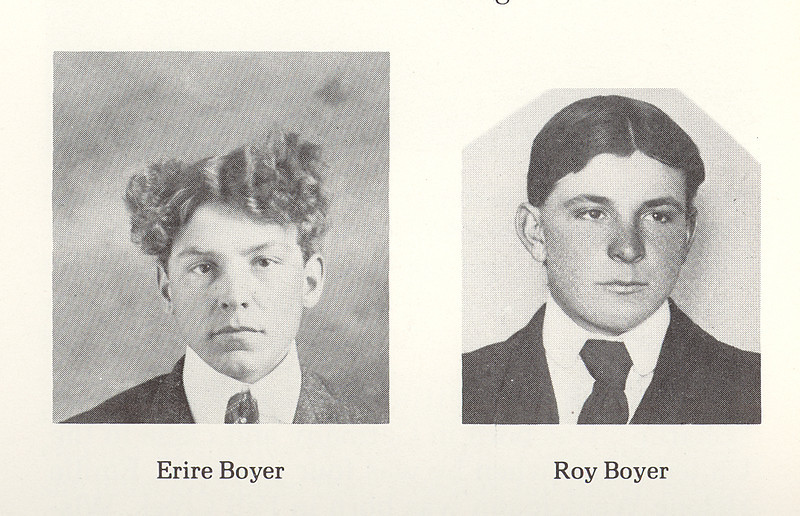 """Two of the Five Boyer Sons:<br /> Ervie<br /> Roy <br /> <br /> Not shown:  <br /> Lawrence<br /> Earnest (died at an early age)<br /> Kenneth (died in infancy)<br /> <br /> ~  ~  ~  ~  ~ <br /> <br /> From the May 26th, 1911 Beach Advance, Beach, Billings Co, North Dakota: """"Mr. and Mrs. Roy Boyer, who reside some distance across the Montana line, are reported the parents of a fine baby girl born about the 18th inst. Mr. Boyer is a son of Mr. and Mrs. J. R. Boyer of Rocky Butte."""""""