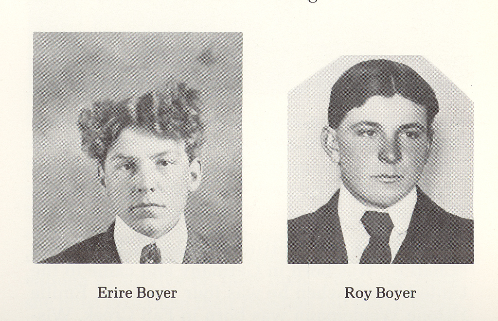 "Two of the Five Boyer Sons:<br /> Ervie<br /> Roy <br /> <br /> Not shown:  <br /> Lawrence<br /> Earnest (died at an early age)<br /> Kenneth (died in infancy)<br /> <br /> ~  ~  ~  ~  ~ <br /> <br /> From the May 26th, 1911 Beach Advance, Beach, Billings Co, North Dakota: ""Mr. and Mrs. Roy Boyer, who reside some distance across the Montana line, are reported the parents of a fine baby girl born about the 18th inst. Mr. Boyer is a son of Mr. and Mrs. J. R. Boyer of Rocky Butte."""