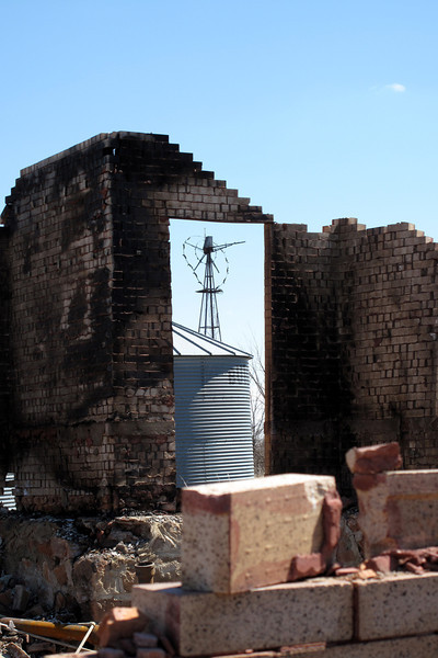 It had once been a grand BRICK farmhouse as evidenced by the remaining portion of wall on the southeast corner ...