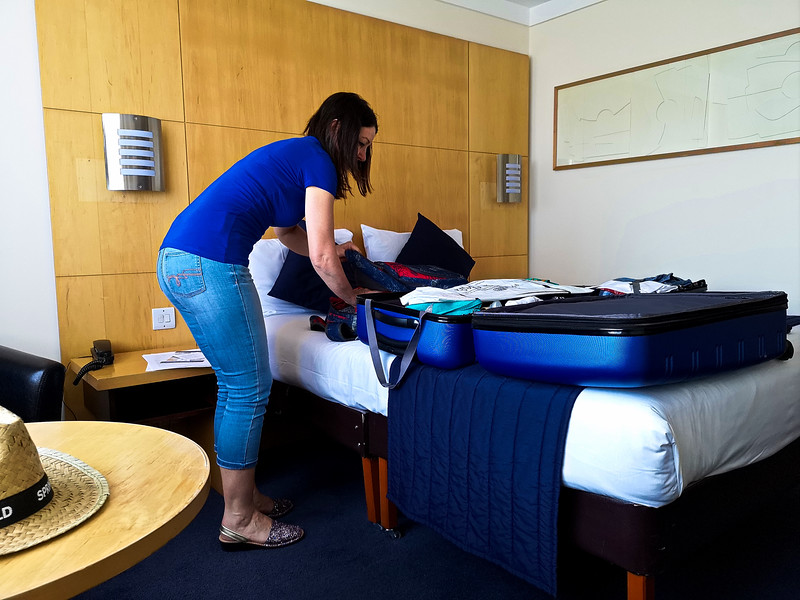 Packing again in the Hotel Brittania Manchester