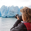 Photographying the heavily-crevassed front of Grey Glacier, Torres del Paine NP, Patagonia, Chile