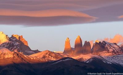 The Paine towers at sunrise, Torres del Paine, Chile © Bastian Gygli, Far South Exp