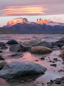 Sunrise from Laguna Azul, Torres del Paine, Chile © Bastian Gygli, Far South Exp