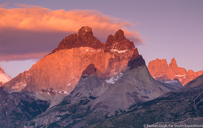 The Paine Massif at dawn, Torres del Paine, Chile © Bastian Gygli, Far South Exp