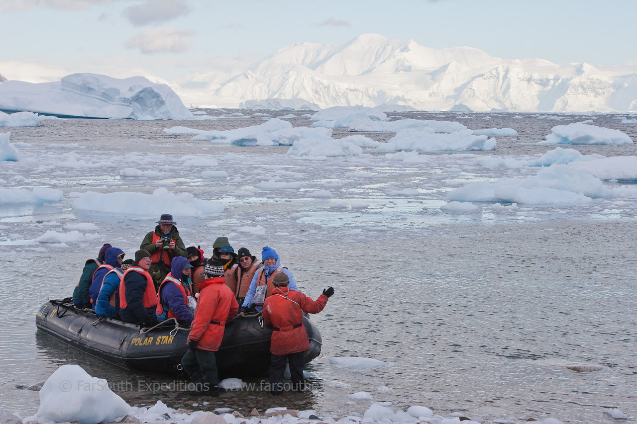 "Zodiac landing at the Antarctic Peninsula © Claudio F. Vidal, FS Expeditions -  <a href=""http://www.fsexpeditions.com"">http://www.fsexpeditions.com</a>"