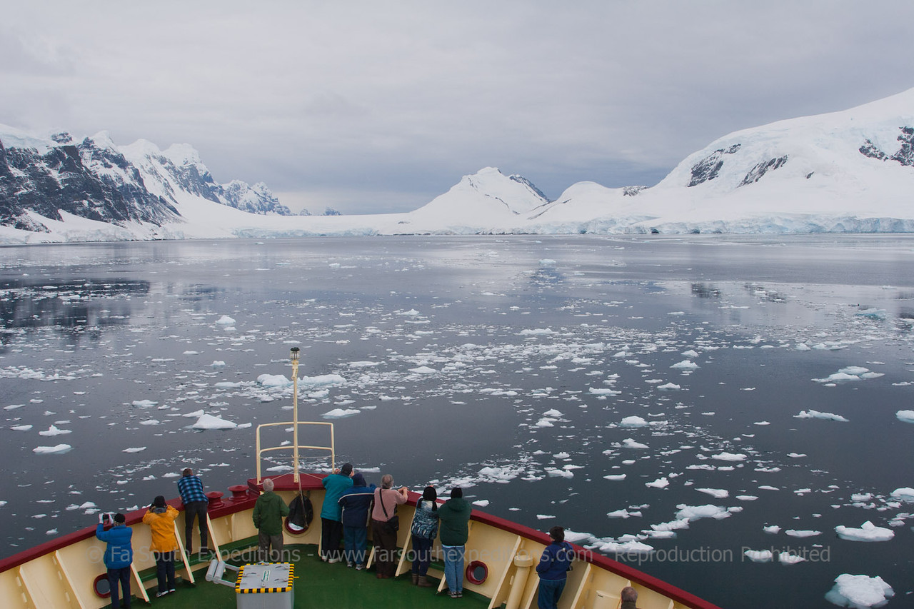 Cruising the scenic Le Maire Channel, Western Antarctic