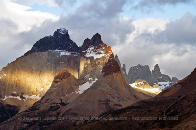 Los Cuernos (The Horns), the most spectacular mountains of the Paine Massif, Torres del Paine National Park, Patagonia, Chile